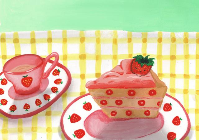 Sleepy strawberry, gouache, 2020