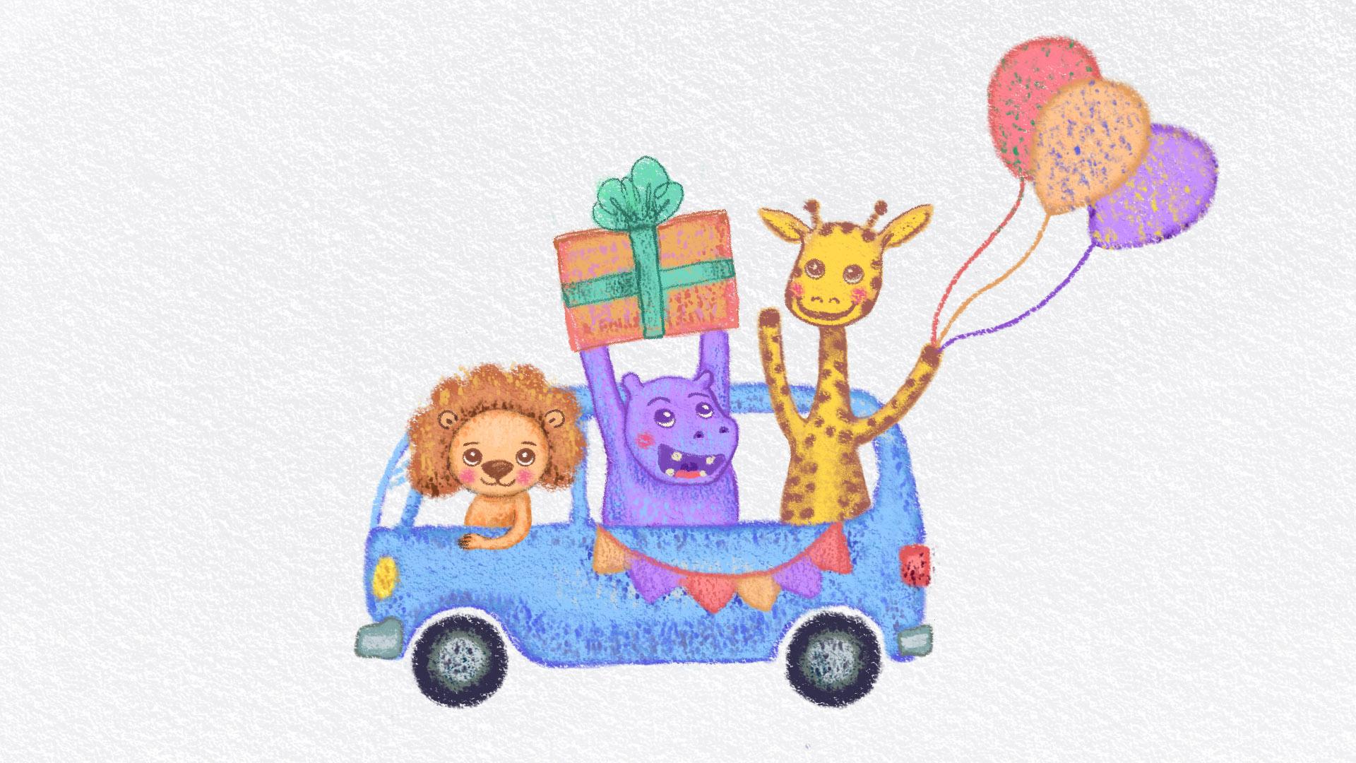 Animated happy birthday card, Procreate, 2020