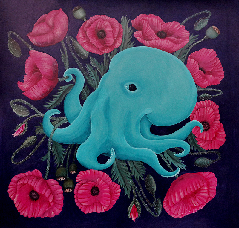 Octopus series, acrylic on paper